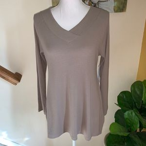 Soft Surroundings timely tunic taupe v-neck S NWT